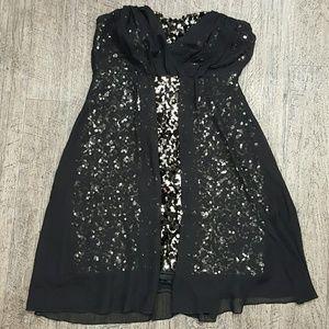 Modcloth Mystic Strapless Sequin Chiffon Dress •L•